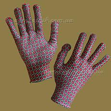 Перчатки женские с рисунком с ПВХ точкой, фото 2