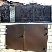 Металлические ворота распашные для гаража и улицы, фото 1