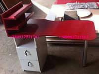 Маникюрный стол с  красной столешницей. Модель  V69