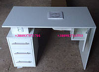 Маникюрный стол с вытяжкой 16вт. и шкафчиком для мешка. Модель V70 белый