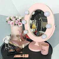 Подарок зеркало гримерное Розовое Star