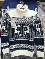 Белый вязаный свитер с оленями для девочек 128,140,152,164 роста Убегающие олени