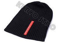 Мужская зимняя шапка Prada, цвет черный, материал хлопок