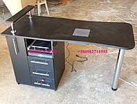 Маникюрный стол с вытяжкой и бактерицидной лампой, черный. Модель V102, фото 1