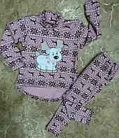 Детский теплый трикотажный костюм с новогодним принтом, детские трикотажные костюмы оптом от производителя
