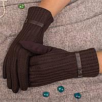 Классические женские перчатки с текстурой вязки коричневого цвета Paidi 53-60 05-brown 8.5