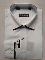 Рубашка на 7-12 лет с длинным рукавом коттоновая белая с черной оконтовкой