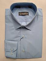 Рубашка на 7-12 лет с длинным рукавом коттоновая серая-голубая