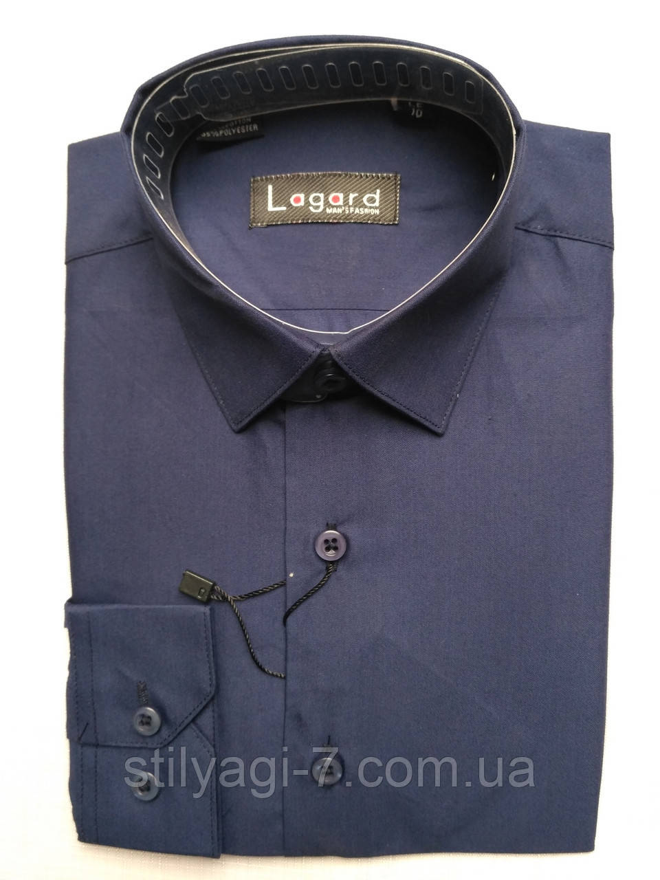 Рубашка на 7-12 лет с длинным рукавом коттоновая темно-синяя