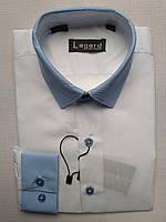Рубашка на 7-12 лет с длинным рукавом коттоновая белая с голубой оконтовкой