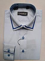 Рубашка на 7-12 лет  с длинным рукавом коттоновая белая с синим кантом
