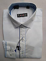 Рубашка на 7-12 лет с длинным рукавом коттоновая белая с кантом