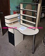 Маникюрный стол c вытяжкой 16вт, стол с полками для лака. Модель V106 крем / черный