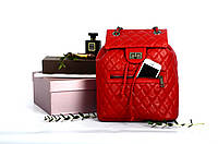 Рюкзак кожаный прошитый с клапаном Red