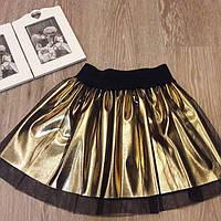 Стильная детская юбочкаклеш эко кожа золото + черная стрейч сетка