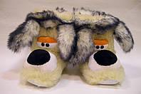 Комнатные тапочки-сапожки Собака из овчины с кроликом
