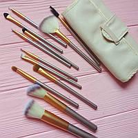 Набор кистей для макияжа 12 штук в белом чехле mini