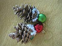 """Набор """"Новогодние серебряные шишки со снегом"""" (новогодние подвески 8 штук), фото 1"""
