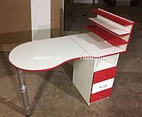 Маникюрный стол с белыми и красными фасадами. Модель  V117, фото 1