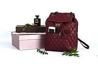 Рюкзак кожаный прошитый с клапаном  Burgundy