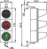 Светофор СД П1.1-Т – С  Светофор дорожный светодиодный, пешеходный, с табло отсчета времени, 3-х секционный,