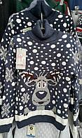 Вязаный свитер с оленями для девочек 122,128,134,140 роста Синий