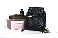 Рюкзак кожаный прошитый с клапаном Black