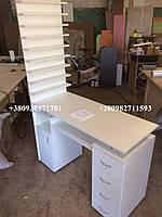Маникюрный стол c вытяжкой 16вт и вместительной полкой для лаков. Модель V127 белый, фото 1