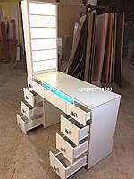 Маникюрный стол с УФ лампой и полкой для лаков с подсветкой.. Модель V129 белый, фото 1