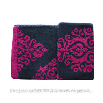 Банное полотенце Home4You ORIENT 140x70cm  fuksia/grey design