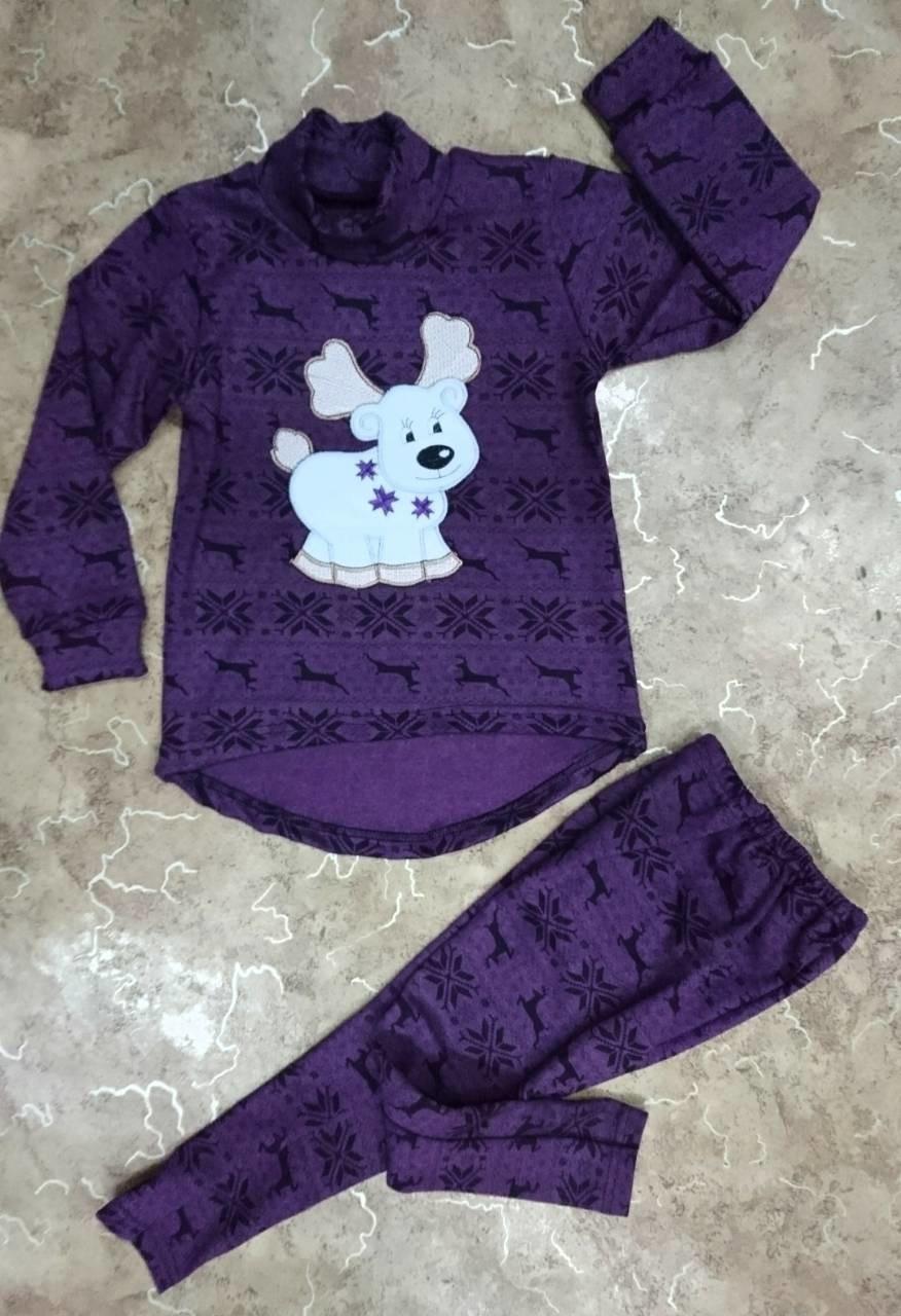... фото Детский теплый трикотажный костюм с новогодним принтом cda68864b1683