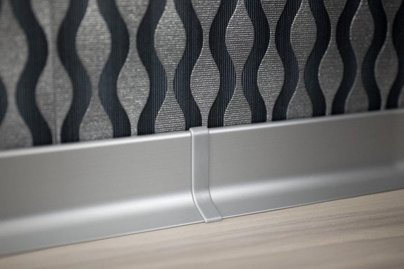 Плинтус алюминиевый для пола Effector Multi Effect Q64,Серебро 16,8*50*2700мм