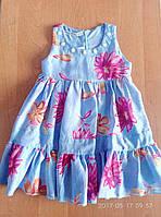 Детские платья 2-4 лет Шифон голубое