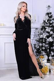 Вечернее платье в пол с кружевом, материал - бархат, цвет - черный