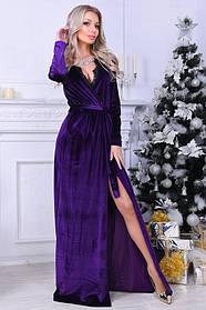 Вечернее платье в пол с кружевом, материал - бархат, цвет - фиолетовый