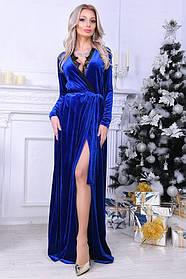 Вечернее платье в пол с кружевом, материал - бархат, цвет - синий