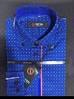 Рубашка на мальчика 6-13 лет Slim Fit приталенная  с длинным рукавом с окантовкой (коттонн) Синяя