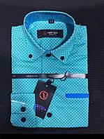 Рубашка на мальчика 6-13 лет Slim Fit приталенная с длинным рукавом с окантовкой (коттонн)