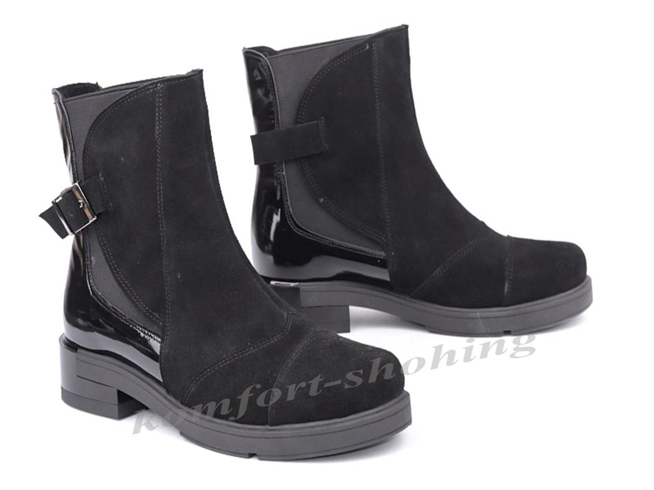 Ботинки женские замшевые с лаковой вставкой  V 1044
