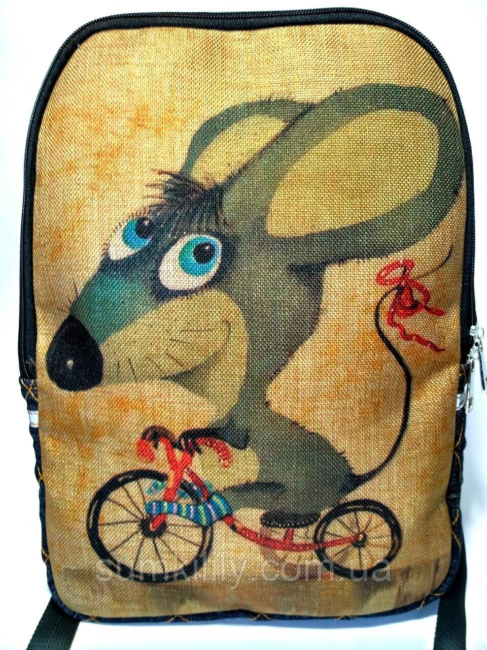 Джинсовый рюкзак Мышонок на велике