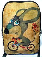 Джинсовый рюкзак Мышонок на велике, фото 1