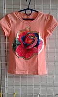 Футболки для девочек   6-10 лет Принт роза