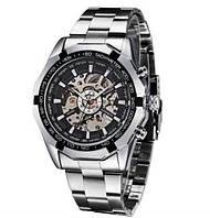 Часы мужские механические WINNER Skeleton серебристые с черным циферблатом