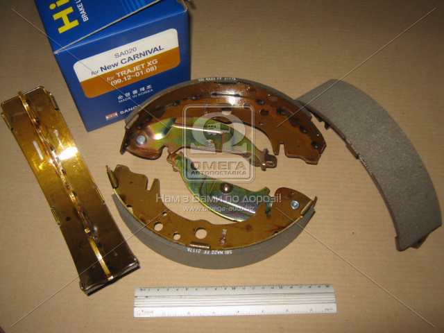 Колодка тормозная барабанная KIA CARNIVAL 2.5V6, 2.9TD 00-01,HYUNDAI Trajet XG 99-01 задн. (производство SANGSIN) (арт. SA020), AEHZX