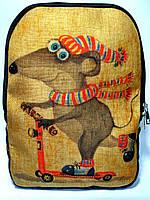 Джинсовый рюкзак Мышонок на самокате, фото 1