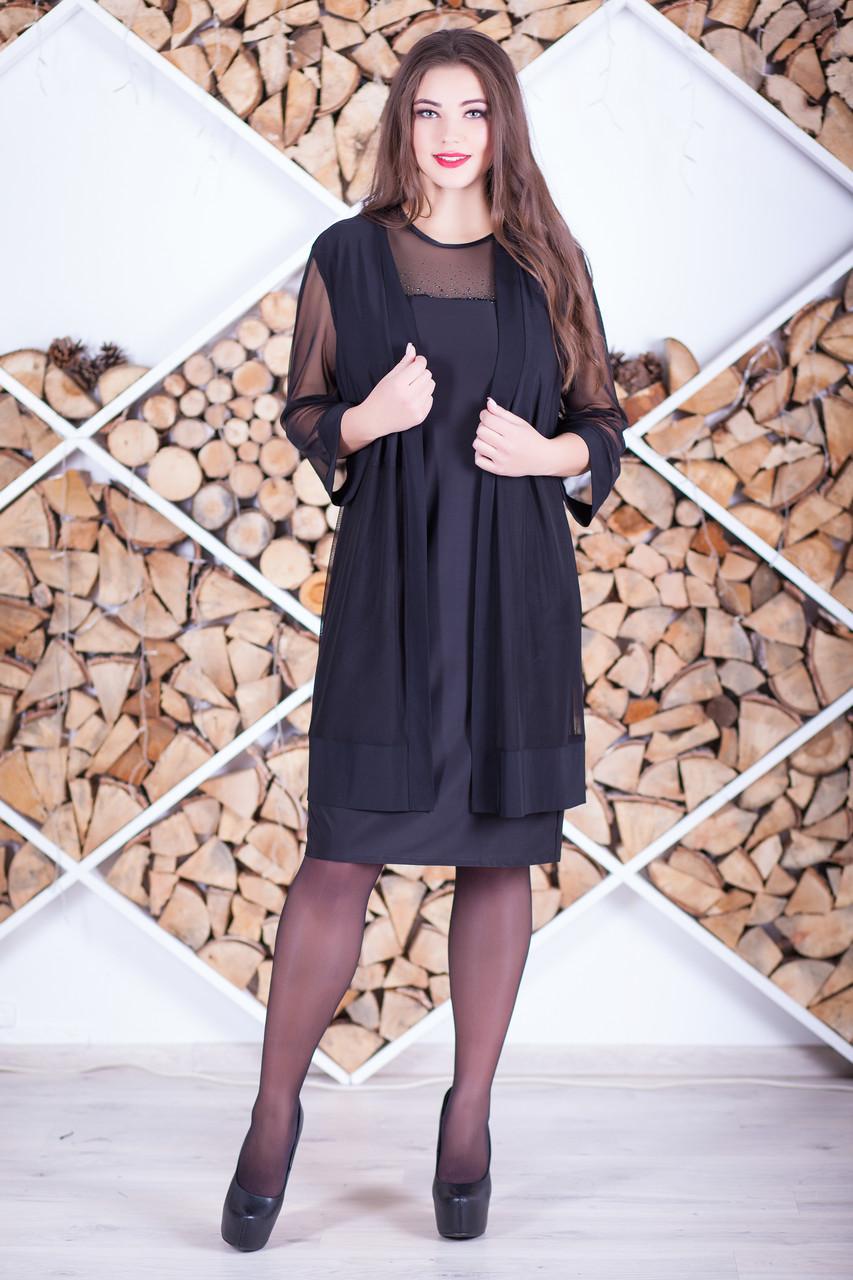 """Комплект: платье с кардиганом """"Лайсис"""" большие размеры"""