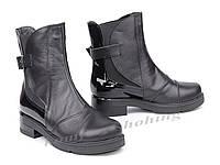 Ботинки женские кожаные с лаковой вставкой  V 1044