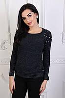 Теплый вязаный женский свитер с жемчужинами на плечах