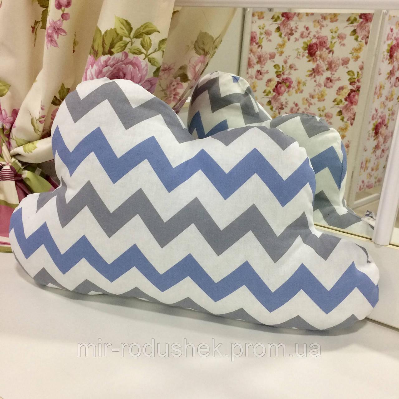 Декоративная подушка-тучка: синий зигзаг, 50х35 см, наперник х/б, наполнитель холлофайбер