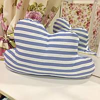 Декоративная подушка-тучка: синяя полоска, х/б наперник, наполнитель холлофайбер, 50х35 см